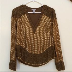 H&M gold sequins top Size 6